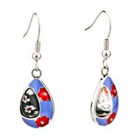 Earrings - silver red flower purple drop millefiori murano glass earrings Image.