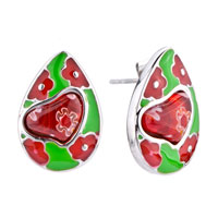 Earrings - silver drop red flower heart against green millefiori murano glass earrings Image.