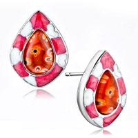Earrings - silver/ p white flower against rose millefiori murano glass stud earrings Image.