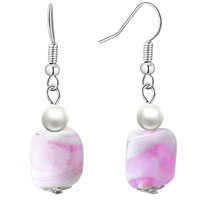 Earrings - pink square earrings murano glass dangle for women Image.