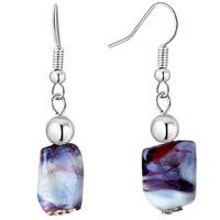Earrings - black white square earrings murano glass dangle for women Image.