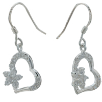 Sterling Silver Jewelry - lovely clear crystal heart flower dangle 925 sterling silver earrings Image.