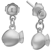 Sterling Silver Earrings - adorable fish stud 925  sterling silver jewelry earrings girl' s Image.