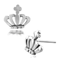 Sterling Silver Earrings - crown studded 925  sterling silver jewelry earrings girl' s Image.