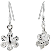 Earrings - clear crystal flower dangle sterling silver crystal earrings Image.