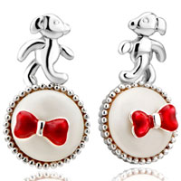 Earrings - adorable dog puppy red bow on white plate stud earrings girl' s Image.