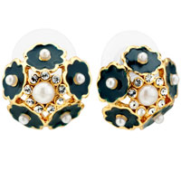 Earrings - fashion black flowers clear cz crystal white pearl stud earrings Image.