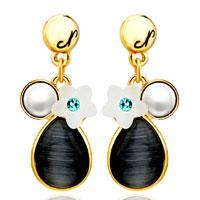 Earrings - fashion pearl flower black drop dangle 14 k gold plated earrings Image.