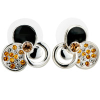Earrings - pave white &  topaz cubic zirconia cz black enamel glam stud earrings Image.