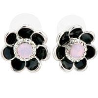 Earrings - black enamel petal flower pinkcubic zirconia cz glam stud earrings Image.