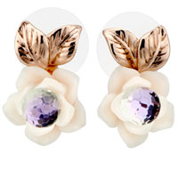 Earrings - clear crystal flower 14 k gold plated leaf cubic zirconia earrings Image.