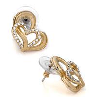 Earrings - gold heart detailed clear crystal stud earrings Image.