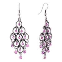 Earrings - october birthstone chandelier earrings pink crystal dangle for women Image.