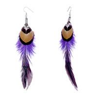 Earrings - double fine long gradual changed indigo feather black gold drape dangle knot earrings Image.