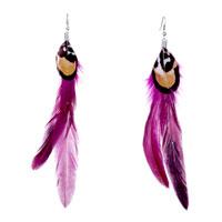 Earrings - double long dark magenta feathers black golden drape dangle earrings Image.