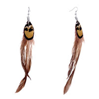 Earrings - double fine long sienna feather black gold drape dangle knot earrings Image.