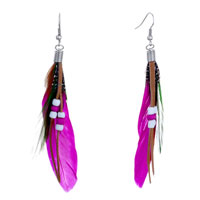 Earrings - deep pink green feather drape white dots brown leather beads dangle knot earrings Image.