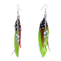 Earrings - chartreuse red feather drape white dots gray leather beads dangle knot earrings Image.
