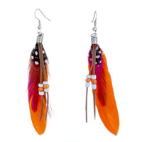 Earrings - orang deep pink feather drape white dots brown leather beads dangle knot earrings Image.