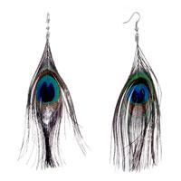 Earrings - natural peacock feather fashion dangle earrings Image.