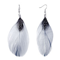 Earrings - fine big gray feather black drape white dots dangle knot earrings Image.