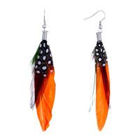 Earrings - fine orange green feather black drape white dots dangle knot earrings Image.