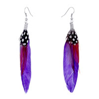 Earrings - fine purple maroon feather black drape white dots dangle knot earrings Image.