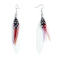 Earrings - fine white red feather black drape dots dangle knot earrings Image.