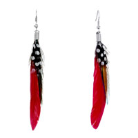 Earrings - fine red green sandy brown feather drape white dots dangle knot earrings Image.