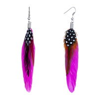 Earrings - fine deep pink green maroon feather drape white dots dangle knot earrings Image.