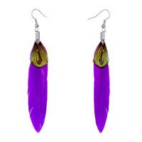 Earrings - blue violet feather green brown drape dangle earrings bohemian Image.