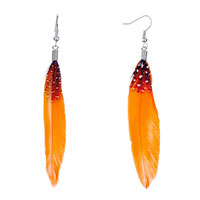 Earrings - fine orange red feather black drape white dots dangle knot earrings Image.