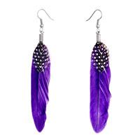 Earrings - fine indigo feather white spots drape dangle knot earrings Image.