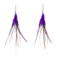 Earrings - fine double indigo a few green feather dangle knot earrings Image.