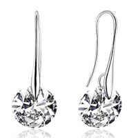 Sterling Silver Earrings - classy clear genuine crystals dangle silver plated hook earrings Image.