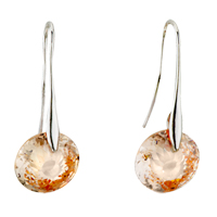 Earrings - champagne birds nest swarovski crystal earrings Image.