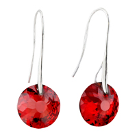 Sterling Silver Earrings - july red birds nest crystal earrings Image.
