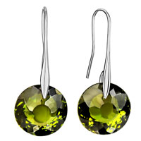 Earrings - fancy peridot green crystal circle dangle hook silver plated earrings Image.
