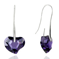 Earrings - february purple heart swarovski crystal earrings Image.