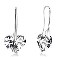 Earrings - clear genuine heart crysta dangle silver/ p hook earrings for women Image.