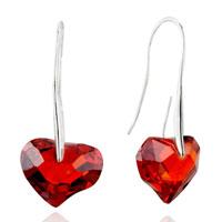 Earrings - january birthstone garnet red heart crystal earrings for women gift Image.