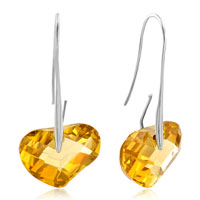 Sterling Silver Earrings - november yellow heart swarovski crystal earrings Image.