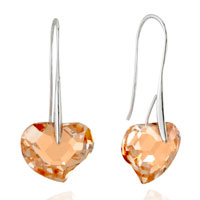 Earrings - orange heart crystal re dangle earrings Image.