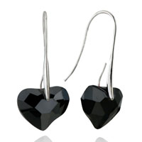 Earrings - black heart crystal re earrings Image.