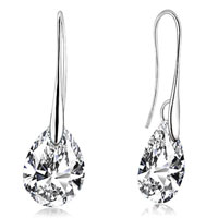 Earrings - clear crystal pave teardrop crystals dangle earrings Image.