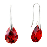Earrings - july red angel pave teardrop crystal earrings Image.