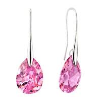 Sterling Silver Earrings - october pink angel pave teardrop crystal earrings Image.