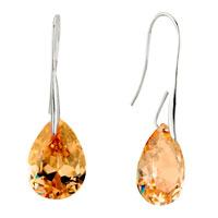 Earrings - champagne angel pave teardrop crystal earrings Image.