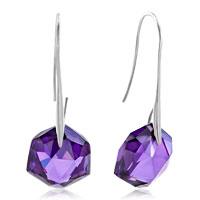 Sterling Silver Earrings - purple amethyst hexagon dangle earrings for women Image.