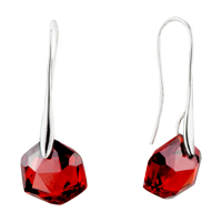 Sterling Silver Earrings - july red hexagon swarovski crystal earrings Image.